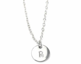 personalized necklace stamped necklace, silver necklace, monogram necklace