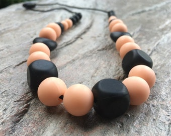 Nursing Necklace, Peach and Black, Silicone Beads, Hearts and Cubes