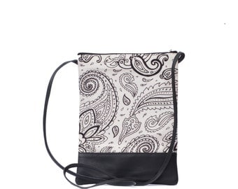 Cream Paisley sling bag