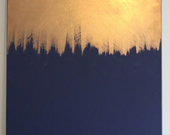 "Large navy and gold metallic painting 36""x24"""