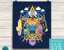 New Adventure Time Poster  Multi-Character Jake and Finn Design Museum Quality Premium Poster Gaming Art Print Matte Finish All Sizes