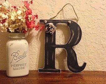 Distressed wooden letter | letter R | wooden letter | letter with burlap | door hanger