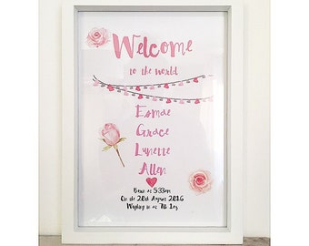 A4, Welcome to the world, personalised birth print. Girl.