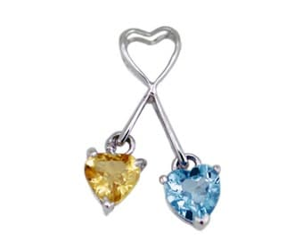 925 sterling silver pendant set with a blue topaz and a yellow citrine - you and me style