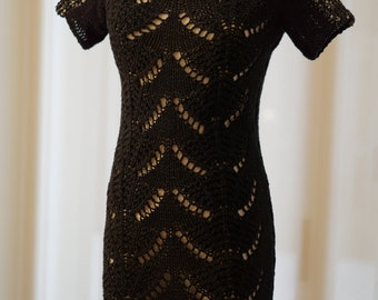 Black Cotton Knitted Dress