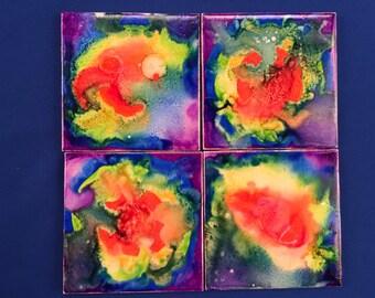 Tie Dye Rainbow Ceramic Tile Coasters (4)