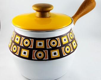Vintage Mid Century Enamel Fondue Pot