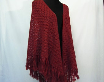 "Crochet triangular shine and romantic Shawl/wrap/headscarf  ''Royal cherry""  for women.Evening dress. Burgundy,dark red, wool, Glitter Yarn."
