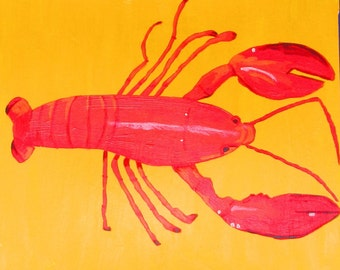 "Lobster and Crab are two matching 12"" X 12"" paintings by Rory Doyle, an artist with autism, disability art"