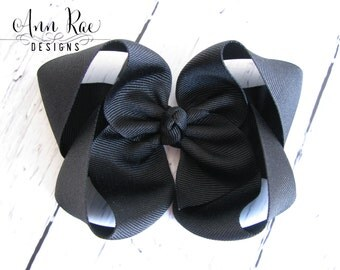 Black Hair Bow, Girls Hair Bow, Big Hair Bow, Black Baby Bow, Baby Headband, Hair Bow for Babies, Headband For Babies, Big Black Hair Bow