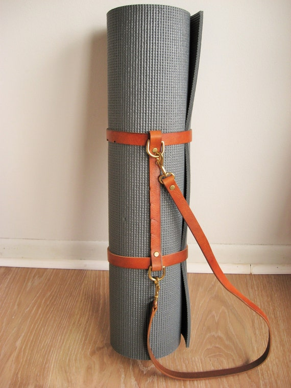 Brown Leather Yoga Mat Strap Blanket Carrier Repurposed