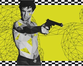 Taxi Driver abstract polygon art poster