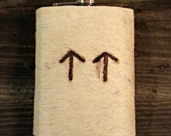 8 oz cowhide branded flask - white with double up arrows