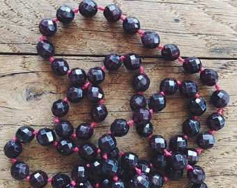 Garnet Stone knotted Necklace (Single)
