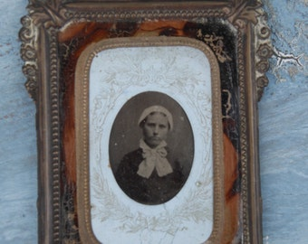 Vintage TinType Photo and Frame/French Vintage Tin Type/Brass Vintage Frame/Frame with Patina/French Victorian Picture Frame