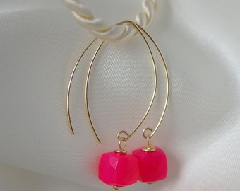 Pink chalcedony faceted yellow gold earrings chalcedony pink earrings