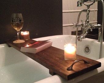 Rustic Bathtub Caddy Bath Tray Poplar Wood With Handles Clawfoot Tub Tray