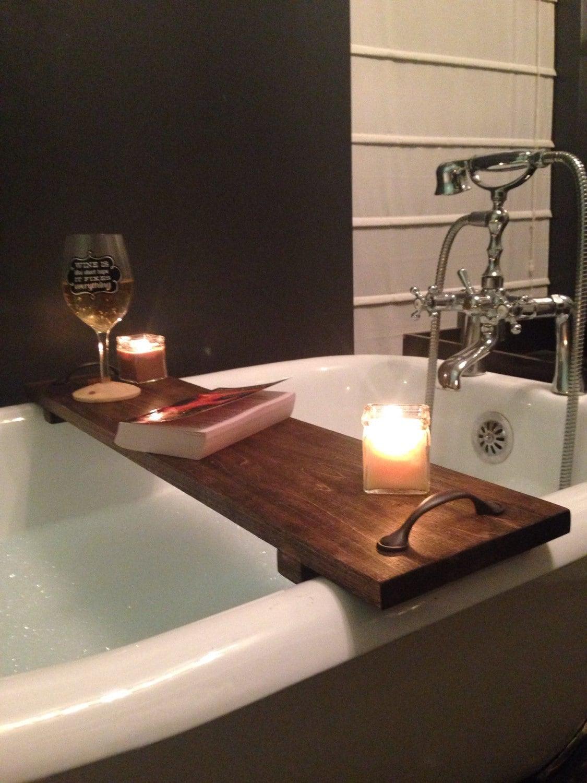Rustic bathtub caddy bath tray poplar wood with handles for Bathroom caddy ideas