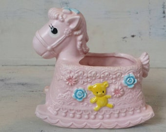 Vintage Napco ware Rocking horse planter.    Made in Japan.   Napco figurine.    Baby planter. Pink planter  Napco collectibles