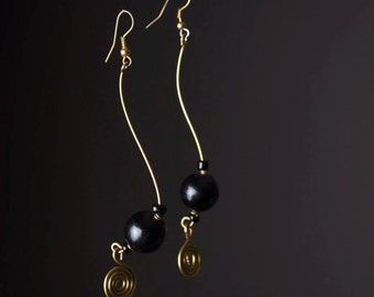 S-Curve Beaded Dangle Earrings