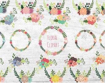 Wreath Clipart Set - 25 Piece Vector Clip Art Bundle - Flower Wreath Clipart - Floral Bouquet Clip art - Commercial Use - Stationary Design