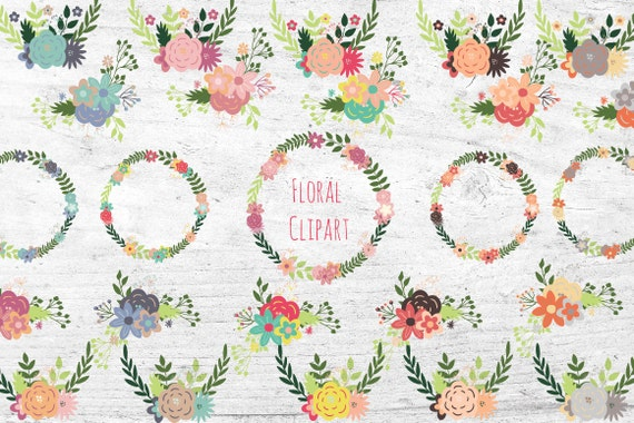 wreath clipart set 25 piece vector clip art bundle flower