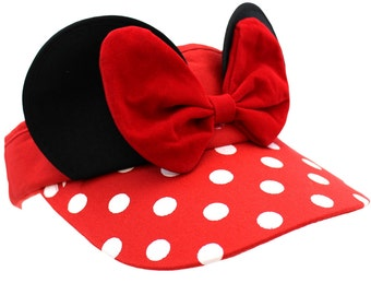 Red Minnie Mouse Visor Hat