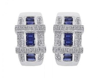 0.40 Carat Diamond and 0.60 Carat Sapphire 14K White Gold Earings