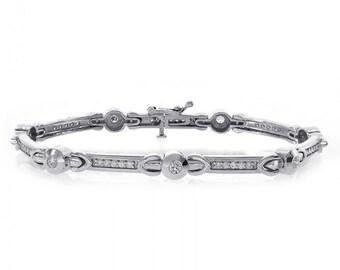 1.00 Carat Diamond Fancy Shaped Link Bracelet 14K White Gold