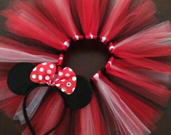 Minnie Mouse tutu, Newborn tutu, black and red tutu, baby tutu, Minnie Mouse