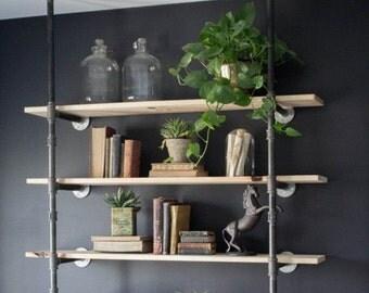 "Black Pipe Bookshelf, Open Bookshelf, Wall/Ceiling Mounted Bookshelf, Parts Kit ""DIY"" Project, Easy to Assemble, 4 Shelves & 60"" Tall"