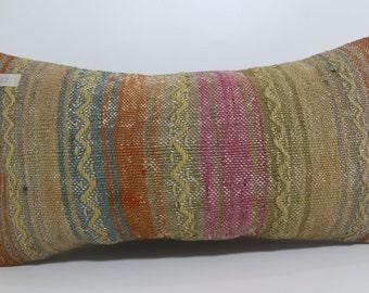 Lumbar Pillow 12x24 vintage kilim pillow embroidered kilim pillow bedding pillow Boho kilim pillow Home Decor throw pillow SP3060-642