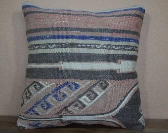 Pillows,16x16 Kilim Pillow 40x40 cm Pastel Kilim Pillow, Vegetable Dyes Turkey Kilim Pillow Bohemian Pillow Kilim Cushion SP40-275