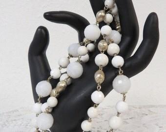 Vintage Beaded Bracelet Multi Strand White Gold Beads - Chunky Lucite  Bead Bracelet