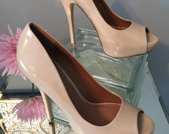 Tan patent leather heels