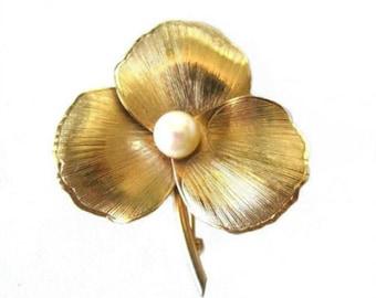 Vintage Winard 12k Gold Fill & Pearl Flower Brooch Pin