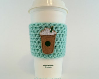 Frappucinno Coffee Cup Cozy / Crochet Coffee Sleeve / Reusable Cozie / Customizable