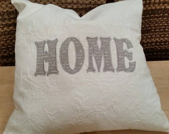 "Cushion ""HOME"" in grey"