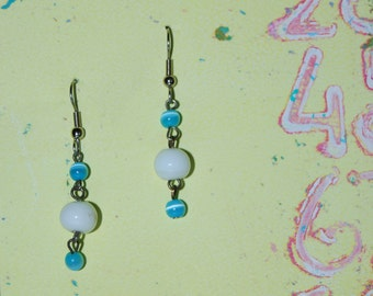 Earrings with Blue and White Glass Beads