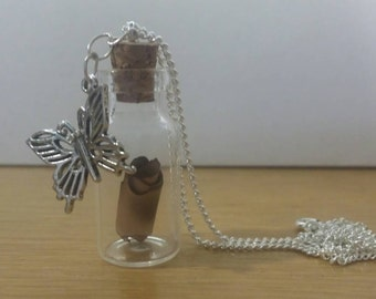 Bottle Charm Necklace : Lost Scroll (Butterfly 1 Edition)