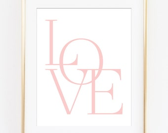 Love Print, Love Wall Art, Love Printable, Typography Poster, Pink Typography, Pink Love Letters, Love Sign, Love Art Print, Nursery Decor
