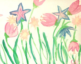 Pink and Blue Flowers Painting