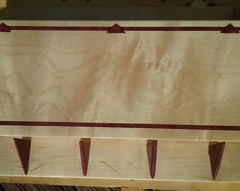 Maple and Purple Heart Wood Coat Rack with Concealable Storage