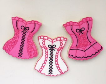Bachelorette Cookies, Girls Night Out, Bachelorette Gift, Gift Bags, Treat Bags, Dessert Table, Corset Cookies, Night Out Cookies