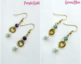 Gold Chainmaille Earrings, 2 Colours, Chainmaille Earrings, Mobius