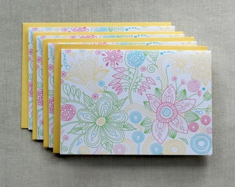 Note Cards, Thank You Cards, Lilly Pulitzer Thank You Cards, Note Card Set, Thank You Cards, Colorful Flower Cards