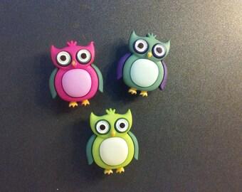 Hoot Hoot!!! Multicolor 3D Owl Magnets, Owl Push Pins, Owl Tacks