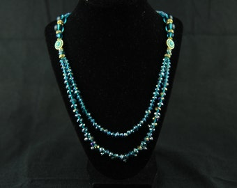 Blue Crystal Bead Double String Necklace  with 2 Pendant with Swarovski Bead Accents