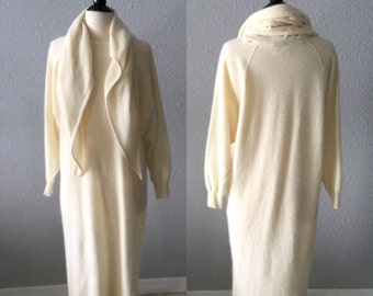 1980's Neiman Marcus Lambswool and Angora Sweater Dress