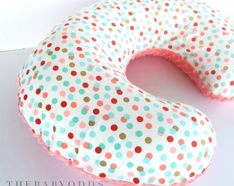 Coral, Mint & Gold Polka dot Nursing Pillow Cover with Minky -- fits a Boppy